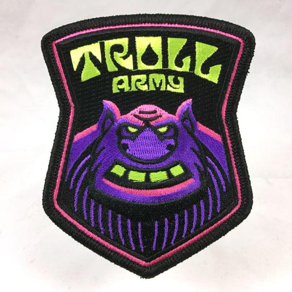 Troll Army embroidered patch psychedelic blacklight sword-and-sorcery