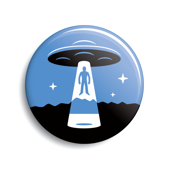 UFO alien abduction minimalist limited-palette pin-back button & magnet by Monsterologist