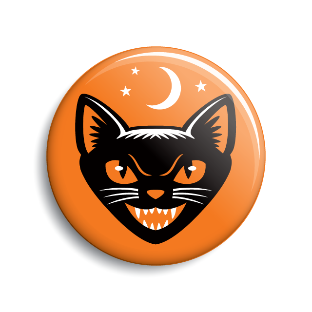 Black cat vintage Halloween pin-back button by Monsterologist