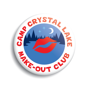 Camp Crystal Lake Make-Out Club funny button Friday the 13th Jason