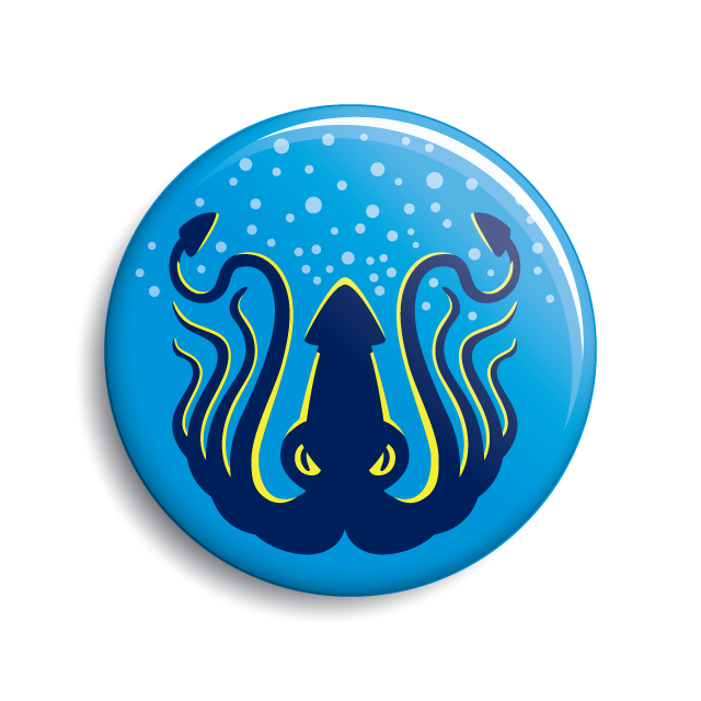 Kraken button (pin-back or magnet) by Monsterologist