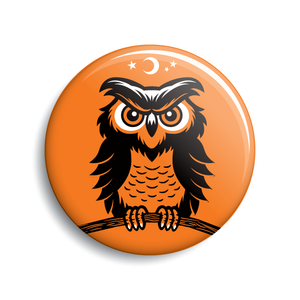 Owl Halloween pin-back button