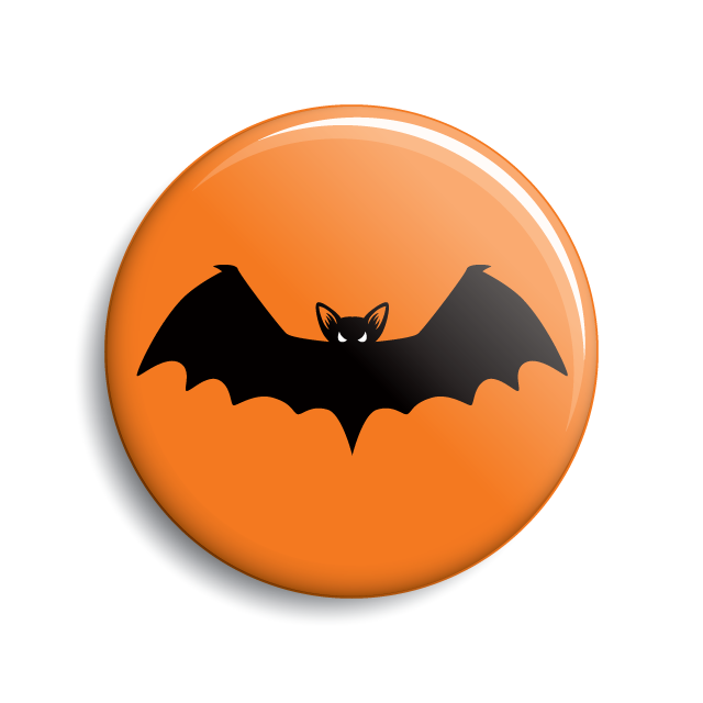 Vampire bat Halloween pin-back button