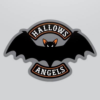 Retro/vintage Halloween vampire bat motorcycle club style sticker by Monsterologist.