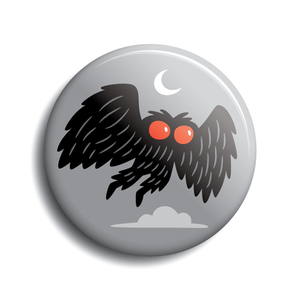 "Mothman flying in moon-lit sky | 1.5"" pin-back button by Monsterologist"