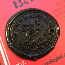 Load image into Gallery viewer, Order Of Krampus secret society initiation certificate wax seal detail by Monsterologist.