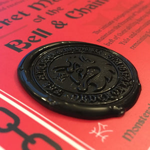Order Of Krampus secret society initiation certificate wax seal detail by Monsterologist.