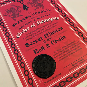 Order Of Krampus secret society initiation certificate wax seal by Monsterologist.