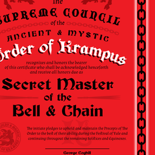 Load image into Gallery viewer, Order Of Krampus Initiation Certificate