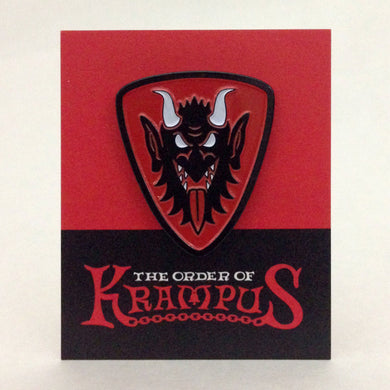 Order Of Krampus Heraldic Enamel Pin Carded Krampus Face