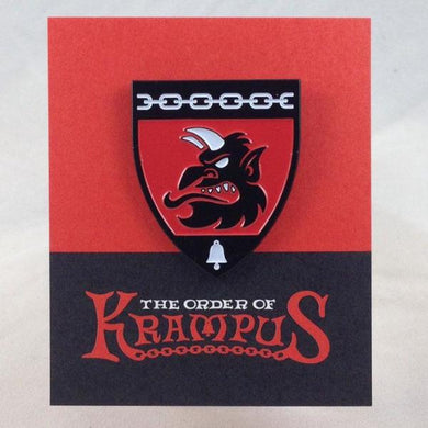 Order Of Krampus Heraldic Enamel Pin Carded Krampus Profile