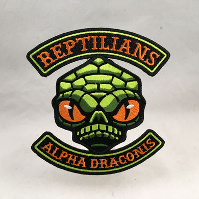Reptilians (Alpha Draconis) cryptid motorcycle club biker embroidered patch