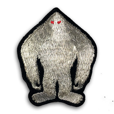 Silver metallic thread Bigfoot Sasquatch embroidered patch by Monsterologist