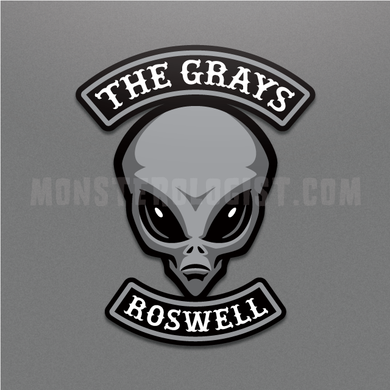 The Grays motorcycle club alien/UFO sticker by Monsterologist