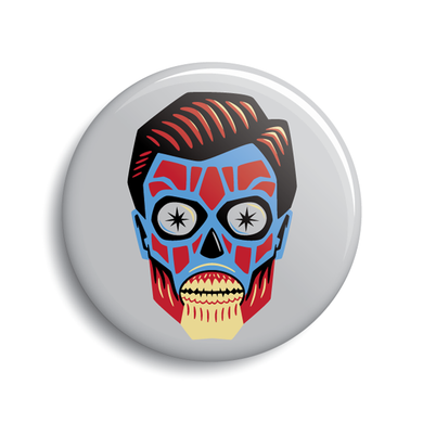 They Live alien head John Carpenter movie pin-back button by Monsterologist.