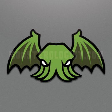 Winged Cthulhu die-cut vinyl sticker by Monsterologist