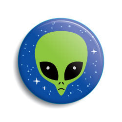 Green cartoon alien head funny pin-back button by Monsterologist