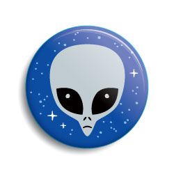 Gray alien cartoon head pin-back button by Monsterologist
