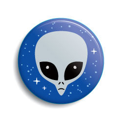 Gray alien cartoon head pin-back button & magnet by Monsterologist