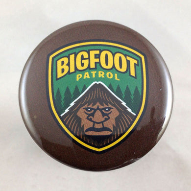 Bigfoot Patrol shield pin-back button by Monsterologist