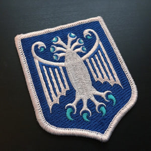Elder Thing Antarctic variant heraldic shield embroidered patch by Monsterologist