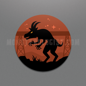 Pope Lick Kentucky Goat Man circle sticker by Monsterologist