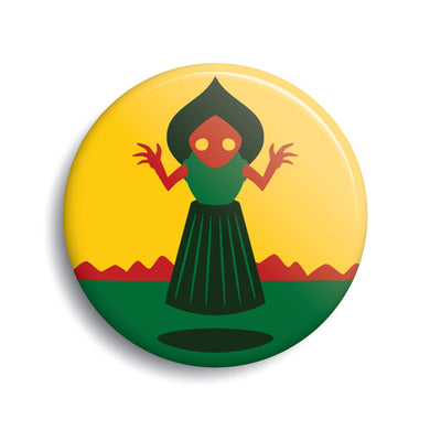 Flatwoods Monster pin-back button by Monsterologist