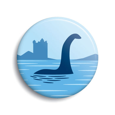 Loch Ness Monster pin-back button art by Monsterologist