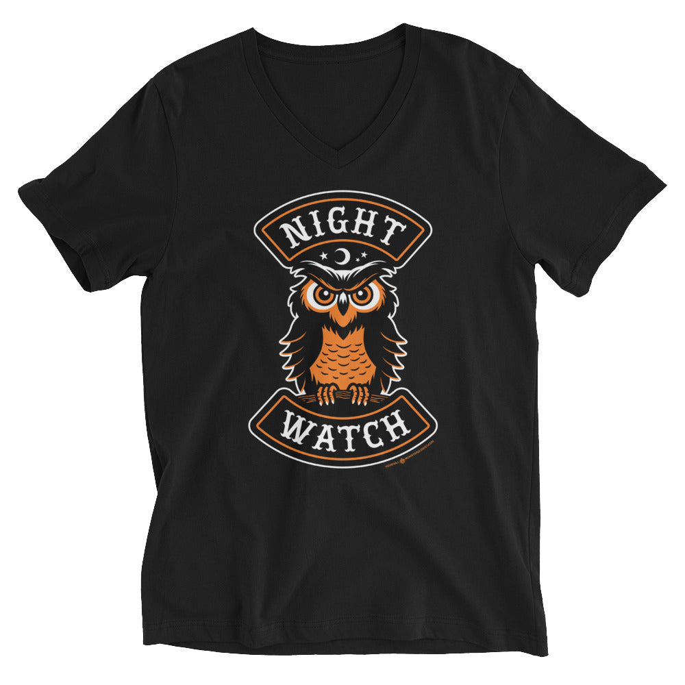 Night Watch Owl Halloween Biker V-Neck T-Shirt