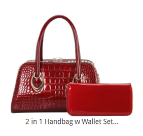 Crocodile Embossed Handbag Set (4 colors available)