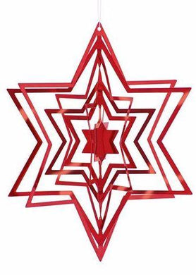 3-D CHRISTMAS TREE  STAR ORNAMENTS RED