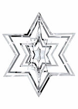 3-D STAR SILVER CHRISTMAS TREE ORNAMENTS
