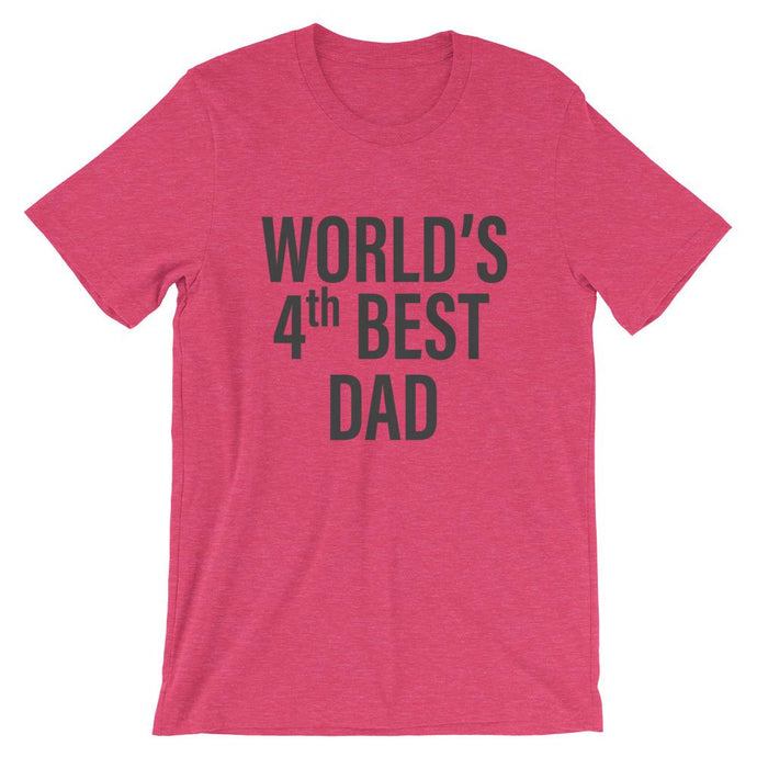 World's 4th Best Dad T-Shirt in Red - House of Dad | Cool Dad T Shirts