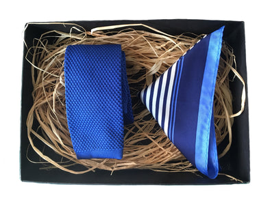 Knitted Necktie and Stripe Silk Pocket Square - Blue