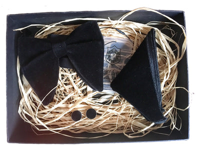 Black Velvet 'Spy Collection' Bow Tie and Pocket Square