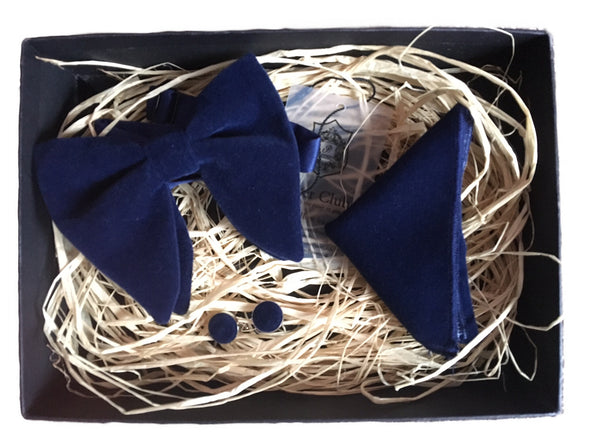 Navy Velvet 'Spy Collection' Bow Tie and Pocket Square