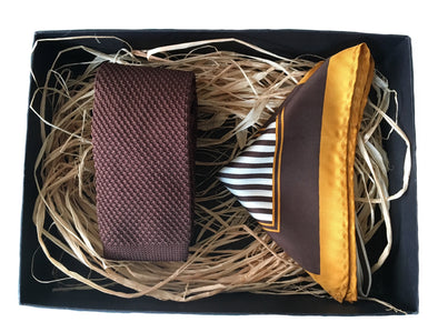 Knitted Necktie and Stripe Silk Pocket Square - Brown
