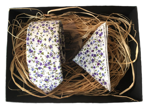 Matching White and Purple Floral Necktie and Pocket Square 'Lavender' Duo Set by Poser Club