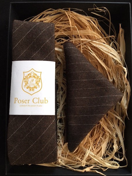 Necktie and Pocket Square Set 'Wall St' Brown - 100% Wool