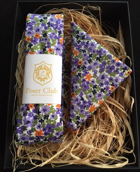 Matching Neck Tie / Bow Tie and Pocket Square Purple Passion Duo Set by Poser Club!