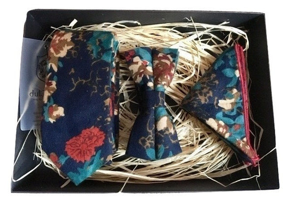 Matching Necktie, Bowtie and Pocket Square Set - Blue Floral Amazon