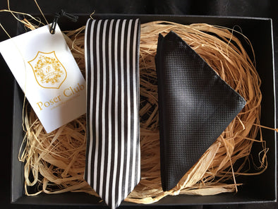 Tie and Pocket Square 'Mountain Zebra' Duo Set Black & White