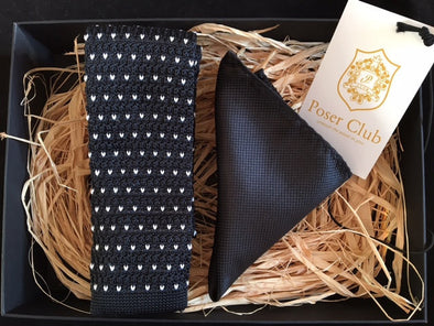 Knit Tie and Pocket Square 'Night Snow' Duo Set Black