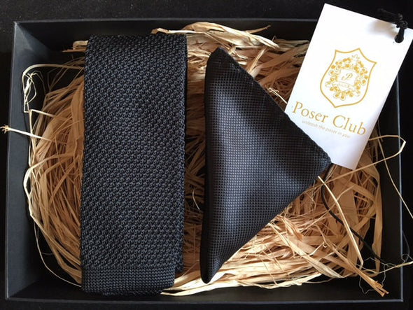 Necktie and Pocket Square 'Noir Knit' Duo Set Black