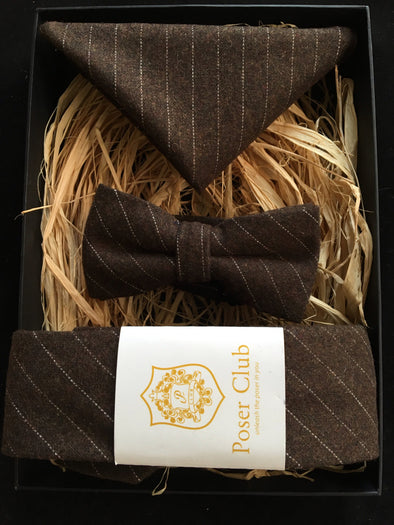 Matching Neck, Bow Tie and Pocket Square 'Wall Street' Trio Set - 100% Wool