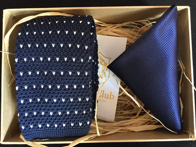 Knitted Navy Necktie with Solid Navy Pocket Square