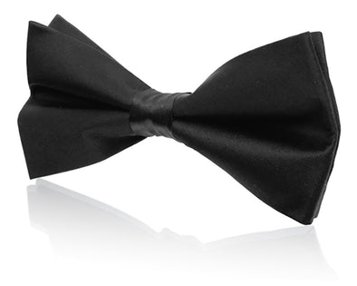 Men's Silk Black Bow tie and Pocket Square