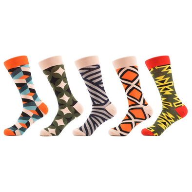 SANZETTI 5 pair/lot Men's Funny Colorful Combed Cotton Socks Geometry Style Dress Casual Crew Socks for Man