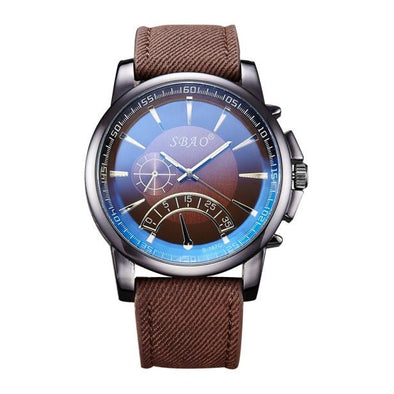 New Fashion Men's Leather Band Stainless Steel Sport Quartz Wrist Watch