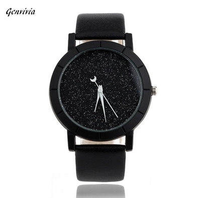 2017 genvivia New Brand Watch Women Men's Fashion Star Minimalist Fashion Watches For Lovers Leather Strap Watch